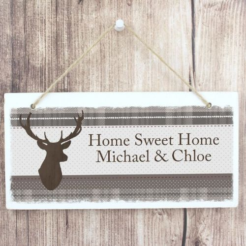 Personalised Highland Stag Wooden Sign